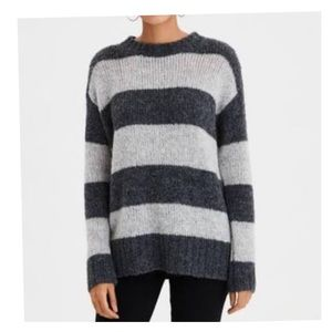 AMERICAN EAGLE Women's Rugby Striped Sweater